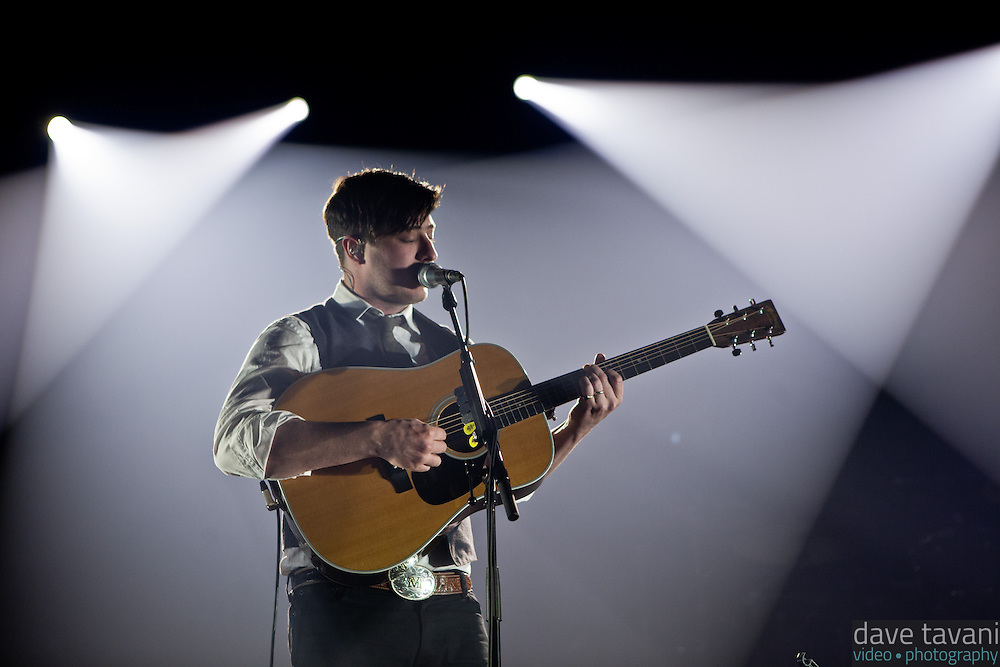 "Marcus Mumford opens with ""Babel,"" the title track of Mumford & Sons' latest Grammy winning album at the Susquehanna Bank Center on February 16, 2013."