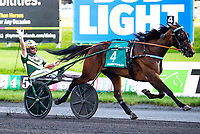 East Rutherford, N.J., August 4th, 2018:  #4 Manchego easily won the $500,000 Hambletonian Oaks for the three year old fillies at the Meadowlands.  Manchego was driven by Yannick Gingras and trained by Jimmy Takter for her Canadian connections. [Dan Heary/eclipsesportswire/Getty Images].