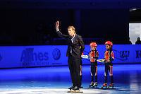 SCHAATSEN: DORDRECHT: Sportboulevard, Korean Air ISU World Cup Finale, 12-02-2012, Cees Juffermans (toernooidirecteur), prijsuitreiking, ©foto: Martin de Jong