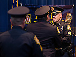 "WINSTED, CT- 18 May 2016-051816EC11-  Jason Hermenau is congratulated during a presentation for ""Officer of the Year."" The Winchester Police Department held its first awards ceremony Wednesday night at The Gilbert School. Erin Covey Republican-American"