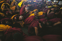 Monks in prayer at the Dalai Lama's techings.