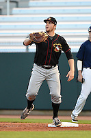 Quad Cities River Bandits first baseman A.J. Reed (18) waits for a throw during a game against the Cedar Rapids Kernels on August 18, 2014 at Perfect Game Field at Veterans Memorial Stadium in Cedar Rapids, Iowa.  Cedar Rapids defeated Quad Cities 5-3.  (Mike Janes/Four Seam Images)