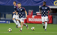 Arlington, TX - Saturday July 22, 2017: Paul Arriola and Jozy Altidore during a 2017 Gold Cup Semifinal match between the men's national teams of the United States (USA) and Costa Rica (CRC) at AT&T stadium.