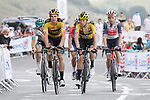 Wout Van Aert (BEL) and George Bennett (NZL) Team Jumbo-Visma summit the Col de Peyresourde during Stage 8 of Tour de France 2020, running 141km from Cazeres-sur-Garonne to Loudenvielle, France. 5th September 2020. <br /> Picture: Colin Flockton | Cyclefile<br /> All photos usage must carry mandatory copyright credit (© Cyclefile | Colin Flockton)