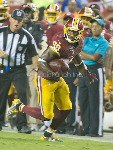 Washington Redskins wide receiver Pierre Garcon (88) carries the ball after making a reception in the second quarter against the Buffalo Bills at FedEx Field in Landover, Maryland on Friday, August 26, 2016.  The Redskins won the game 21 - 16.<br /> Credit: Ron Sachs / CNP/MediaPunch ***FOR EDITORIAL USE ONLY***