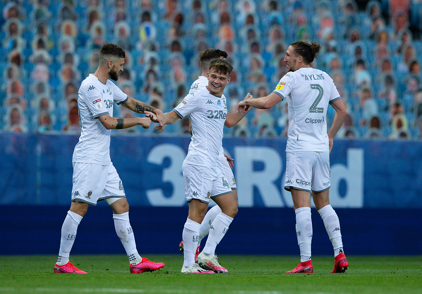 Leeds United's Jamie Shackleton celebrates scoring his side's fourth goal <br /> <br /> Photographer Alex Dodd/CameraSport<br /> <br /> The EFL Sky Bet Championship - Leeds United v Charlton Athletic - Wednesday July 22nd 2020 - Elland Road - Leeds <br /> <br /> World Copyright © 2020 CameraSport. All rights reserved. 43 Linden Ave. Countesthorpe. Leicester. England. LE8 5PG - Tel: +44 (0) 116 277 4147 - admin@camerasport.com - www.camerasport.com