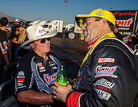 Nov 13, 2016; Pomona, CA, USA; NHRA pro stock driver Greg Anderson (right) celebrates with team owner Ken Black after winning the Auto Club Finals at Auto Club Raceway at Pomona. Mandatory Credit: Mark J. Rebilas-USA TODAY Sports