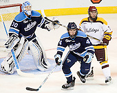 Dan Sullivan (Maine - 30), Ryan Hegarty (Maine - 44), Mike Seidel (Duluth - 17) - The University of Minnesota Duluth Bulldogs defeated the University of Maine Black Bears 5-2 in their NCAA Northeast semifinal on Saturday, March 24, 2012, at the DCU Center in Worcester, Massachusetts.