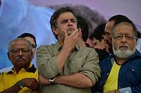 SÃO PAULO, SP, 01 DE MAIO DE 2013 - 1º DE MAIO UNIFICADO - DIA DO TRABALHO: Senador Aécio Neves durante festa do 1º de Maio Unificado, organizado pelas centrais sindicais Força Sindical, CTB, UGT e Nova Central para comemorar o Dia do Trabalhador na manhã desta quarta feira (01) na Praça Campo de Bagatelle, em Santana, Zona Norte da Capital. FOTO: LEVI BIANCO - BRAZIL PHOTO PRESS