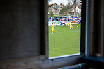 Lowestoft Town 2 Barrow 3, 25/04/2015. Crown Meadow, Conference North. Barrow make the six-hour trip to Suffolk needing a win to secure the title. Midfielder Sam Sheridan opens the scoring for Barrow. Photo by Simon Gill.