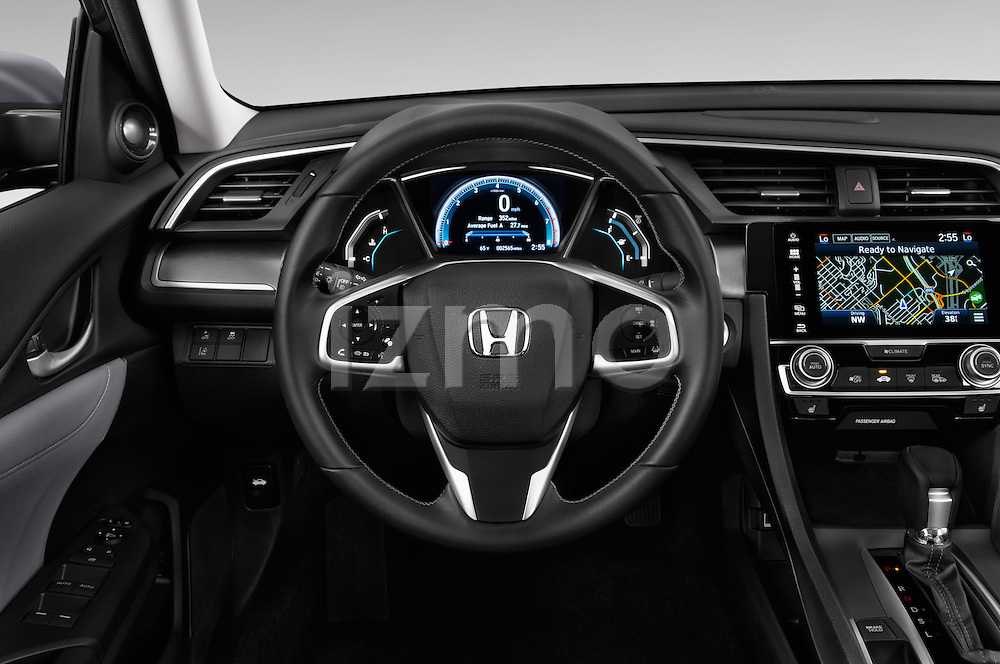 Car pictures of steering wheel view of a 2018 Honda Civic Touring CVT 4 Door Sedan Steering Wheel