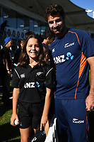 ANZ Coin toss winner with Colin de Grandhomme. New Zealand Blackcaps v England. 5th ODI International one day cricket, Hagley Oval, Christchurch. New Zealand. Saturday 10 March 2018. © Copyright Photo: Andrew Cornaga / www.Photosport.nz