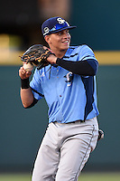 Charlotte Stone Crabs shortstop Willy Adames (2) warmup throw to first in between innings during a game against the Bradenton Marauders on April 22, 2015 at McKechnie Field in Bradenton, Florida.  Bradenton defeated Charlotte 7-6.  (Mike Janes/Four Seam Images)