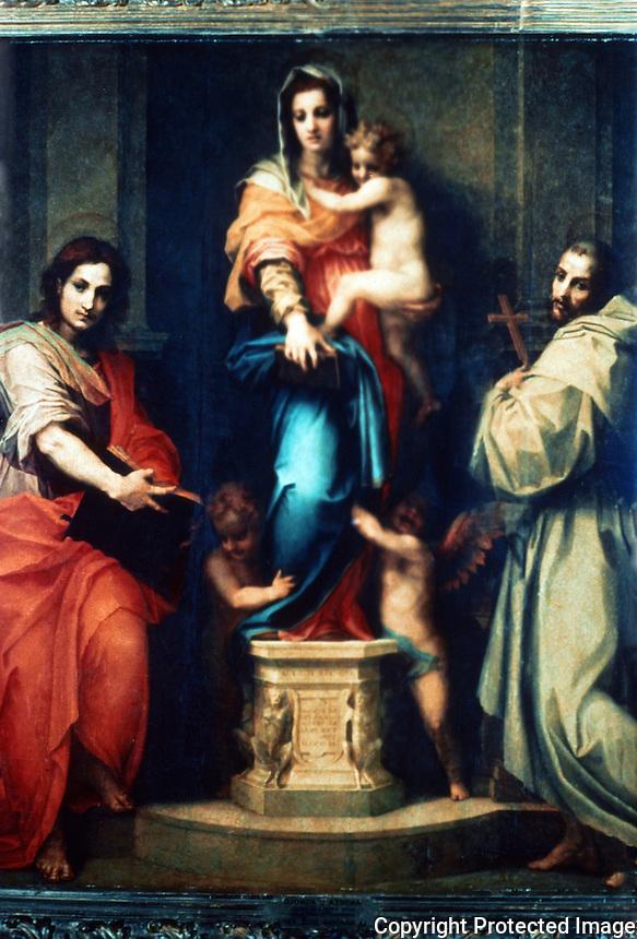 Renaissance Art:  Andrea Del Sarto (1486-1531)--The Madonna of the Harpies.  Galleria Uttizi.