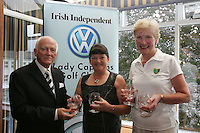 Irish Independent Lady Captains Golf Classic Regional Finals..Cecil Whelan, Left  presentsRossmore Nuala Kilroy and Kathleen Rafferty forth place with 34 points...Photo: Fran Caffrey/ Newsfile.