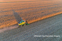 63801-12814 Harvesting corn in fall-aerial  Marion Co. IL