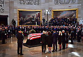 United States Senator Mitch Mcconnell, Speaker of the United States House of Representatives Paul Ryan and wifeJanna Ryan, Vice President of the United States Mike Pence and wife Karen Pence stand over the casket of former Senator John McCain in the Capitol Rotunda as it lies in state at the U.S. Capitol, in Washington, DC on Friday, August 31, 2018. McCain, an Arizona Republican, presidential candidate and war hero died August 25th at the age of 81. He is the 31st person to lie in state at the Capitol in 166 years.    Photo by Kevin Dietsch/UPI