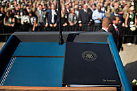 United States President Donald J.Trump's remarks sit on a podium during a ceremony to commemorate the September 11, 2001 terrorist attacks, at the Pentagon in Washington, D.C., U.S., on Monday, Sept. 11, 2017. Trump is presiding over his first 9/11 commemoration on the 16th anniversary of the terrorist attacks that killed nearly 3,000 people when hijackers flew commercial airplanes into New York's World Trade Center, the Pentagon and a field near Shanksville, Pennsylvania. <br /> CAP/MPI/CNP/RS<br /> &copy;RS/CNP/MPI/Capital Pictures