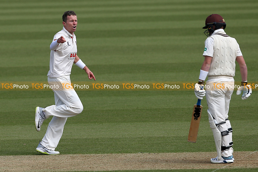 Peter Siddle of Essex celebrates taking the wicket of Ollie Pope during Surrey CCC vs Essex CCC, Specsavers County Championship Division 1 Cricket at the Kia Oval on 11th April 2019