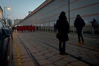 the head of protest frontoff the Jail San Vittore during the parade people No Tav and No Expo, on February 22, 2014. Milan. Photo: Adamo Di Loreto/BuenaVista*photo