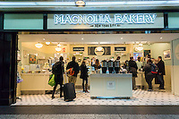 A brand new branch of the Magnolia Bakery chain opens in Pennsylvania Station in New York on Tuesday, April 12, 2016.  (© Richard B. Levine)