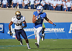 October 1, 2016 - Colorado Springs, Colorado, U.S. -  Air Force wide receiver, Jalen Robinette #9, brings down a pass for a 75 yard touchdown during the NCAA Football game between the Naval Academy Midshipmen and the Air Force Academy Falcons, Falcon Stadium, U.S. Air Force Academy, Colorado Springs, Colorado.  Air Force defeats Navy 28-14 to remain undefeated.
