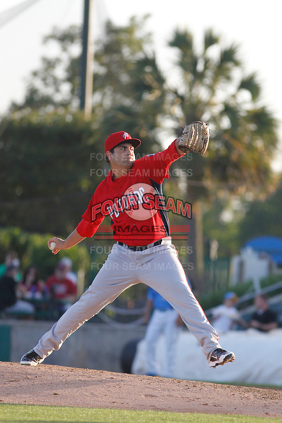 Potomac Nationals pitcher Kevin Perez (9) pitching during a game against the Myrtle Beach Pelicans at Ticketreturn.com Field at Pelicans Ballpark on May 22, 2015 in Myrtle Beach, South Carolina.  Myrtle Beach defeated Potomac 8-4. (Robert Gurganus/Four Seam Images)