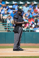 Home plate umpire James Jean prior to the South Atlantic League game between the Charleston RiverDogs and the Hickory Crawdads at L.P. Frans Stadium on May 13, 2019 in Hickory, North Carolina. The Crawdads defeated the RiverDogs 7-5. (Brian Westerholt/Four Seam Images)