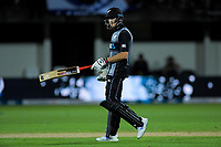 New Zealand's Mitchell Santner during the 4th Twenty20 International cricket match between NZ Black Caps and England at McLean Park in Napier, New Zealand on Friday, 8 November 2019. Photo: Dave Lintott / lintottphoto.co.nz