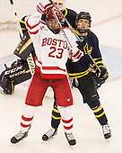 Jakob Forsbacka Karlsson (BU - 23), Alex Carle (Merrimack - 6) - The Boston University Terriers defeated the visiting Merrimack College Warriors 4-0 (EN) on Friday, January 29, 2016, at Agganis Arena in Boston, Massachusetts.