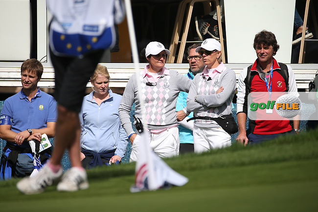 Team Europe Vice-Captain Annika Sorenstam &amp; Vice-Captain Maria McBride during Saturday morning's Foursomes, at The Solheim Cup 2015 played at Golf Club St. Leon-Rot, Mannheim, Germany.  19/09/2015. Picture: Golffile | David Lloyd<br /> <br /> All photos usage must carry mandatory copyright credit (&copy; Golffile | David Lloyd)