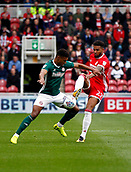 30th September 2017, Riverside Stadium, Middlesbrough, England; EFL Championship football, Middlesbrough versus Brentford; Cyrus Christie of Middlesbrough tackles Ollie Watkins of Brentford in the 2-2 draw