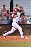 Johnson City Cardinals designated hitter Eliezer Alvarez #43 swings at a pitch during a game against the Danville Braves at Howard Johnson Field September 4, 2014 in Johnson City, Tennessee. The Braves defeated the Cardinals 6-1. (Tony Farlow/Four Seam Images)