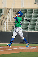 Ryan O'Hearn (22) of the Lexington Legends follows through on his swing against the Kannapolis Intimidators at CMC-Northeast Stadium on May 25, 2015 in Kannapolis, North Carolina.  The Intimidators defeated the Legends 6-5.  (Brian Westerholt/Four Seam Images)