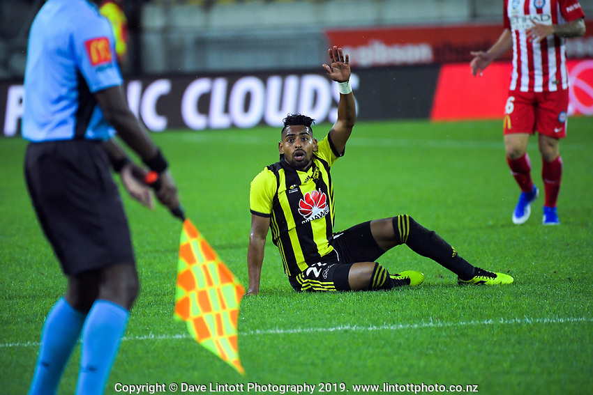 Roy Krishna appeals to the linesman during the A-League football match between Wellington Phoenix and Melbourne City FC at Westpac Stadium in Wellington, New Zealand on Sunday, 21 April 2019. Photo: Dave Lintott / lintottphoto.co.nz