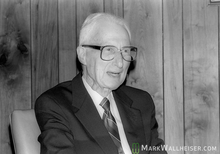 Godfrey Smith on his 51st anniversary in banking was photographed at the Capitol City Bank February 20, 1988.