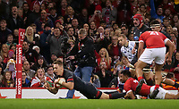 Wales' Liam Williams scores his side's tenth try<br /> <br /> Photographer Ian Cook/CameraSport<br /> <br /> Under Armour Series Autumn Internationals - Wales v Tonga - Saturday 17th November 2018 - Principality Stadium - Cardiff<br /> <br /> World Copyright © 2018 CameraSport. All rights reserved. 43 Linden Ave. Countesthorpe. Leicester. England. LE8 5PG - Tel: +44 (0) 116 277 4147 - admin@camerasport.com - www.camerasport.com