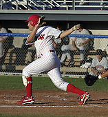 August 1, 2004:  Catcher Jason Jaramillo of the Batavia Muckdogs, Short-Season Single-A affiliate of the Philadelphia Phillies, during a game at Dwyer Stadium in Batavia, NY.  Photo by:  Mike Janes/Four Seam Images