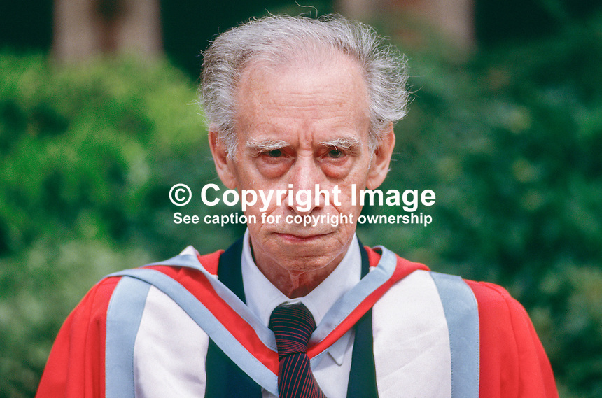 Mario Luzi, poet, born 1914, died 2005, Italy, Italian, honorary degree, University of Ulster, N Ireland, UK, 19870713003..Copyright Image from Victor Patterson, 54 Dorchester Park, Belfast, N Ireland, BT9 6RJ...Tel: +44 28 9066 1296.Mob: +44 7802 353836.Fax: +7092 356429.Email: victorpatterson@mac.com..IMPORTANT: No unauthorised use may be made of this image nor can it be passed on to a third party without the written permission (letter, fax or email) of the copyright owner, Victor Patterson. A fee should be agreed in advance of publication. On request a copy of mediaphotos' terms and conditions in PDF or Word format will be emailed to you. This image is for editorial use only as no model release form is available. Ask for full Terms and Conditions of Use.