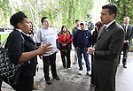 Nevada Gov. Brian Sandoval, right, speaks to a group of students and human services advocates outside the Legislature on Wednesday, May 18, 2011, in Carson City, Nev. The group has been camping outside the Legislature to show support for a Democrat tax package that would help ease cuts to state education. .Photo by Cathleen Allison