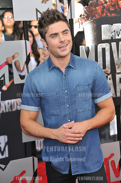 Zac Efron at the 2014 MTV Movie Awards at the Nokia Theatre LA Live.<br /> April 13, 2014  Los Angeles, CA<br /> Picture: Paul Smith / Featureflash