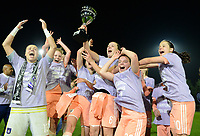 20190430 - OOSTAKKER , BELGIUM : Anderlecht's players with Justien Odeurs , Charlotte Tison , Tine De Caigny , Ulrieke De Frere and Stefania Vatafu (r) and staff pictured celebrating after winning the Superleague Championship after a womensoccer game between  AA Gent Ladies and RSC Anderlecht Dames  , during play-off 1 in the Belgian Women's Superleague, at the PGB Stadium in Oostakker , tuesday 30 th April 2019 . PHOTO SPORTPIX.BE | DAVID CATRY
