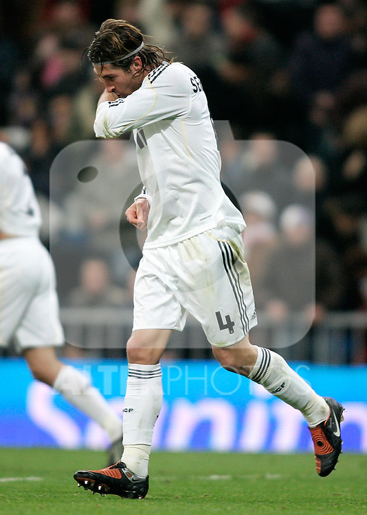 Real Madrid's Sergio Ramos celebrates during La Liga match, November 05, 2009. (ALTERPHOTOS/Alvaro Hernandez)