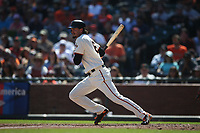 SAN FRANCISCO, CA - SEPTEMBER 17:  Jarrett Parker #6 of the San Francisco Giants bats against the Arizona Diamondbacks during the game at AT&T Park on Sunday, September 17, 2017 in San Francisco, California. (Photo by Brad Mangin)