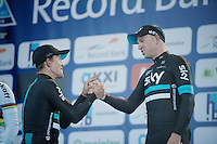 on the podium teammates Michal Kwiatkowski (1st/POL/SKY) &amp; Ian Stannard (3rd/GBR/Sky) congratulate each other<br /> <br /> E3 - Harelbeke 2016