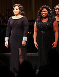 Carmen Ruby Floys & Amber Riley (GLEE)  during the Curtain Call for Encores! 'Cotton Club Parade' at City Center in New York City on 11/17/2012