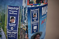Santa Cruz, Bolivia<br /> A picture dated November 15, 2009 shows political propaganda for Evo Morales and Silvia Lazarte from the MAS (Movement Towards Socialism) party, in the city of Santa Cruz.  Mrs. Lazarte was the president of the Constitutional Assembly.  She is very close to President Morales. The MAS is second in the polls in this region of Bolivia, which is the largest opposition in the country and where its bases are working hard to gain votes in the general elections of December 6.