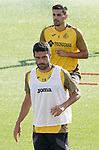 Getafe's Jorge Molina (d) and Chema Rodriguez during training session. August 3,2020.(ALTERPHOTOS/Acero)