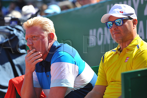 13.04.2016. Monte Carlo, Monaco. Monte Carlo ATP Tennis championships.  Boris Becker and Marian Vajda watch as Djokovic loses
