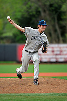 Connecticut Huskies pitcher David Fisher (18) during game against Rutgers Scarlet Knights at Bainton Field in Piscataway, New Jersey;  April 29, 2011.  Rutgers defeated Connecticut 8-3.  Photo By Tomasso DeRosa/Four Seam Images